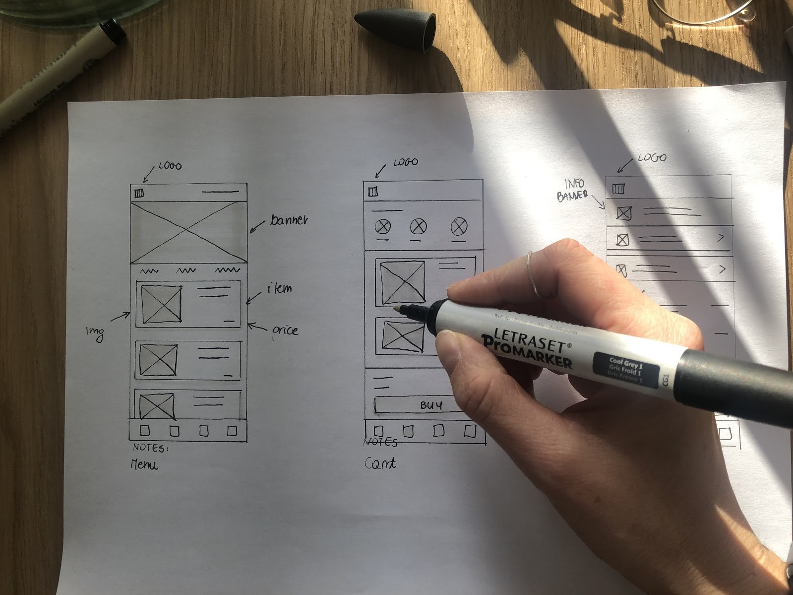 Example of the paper wireframes