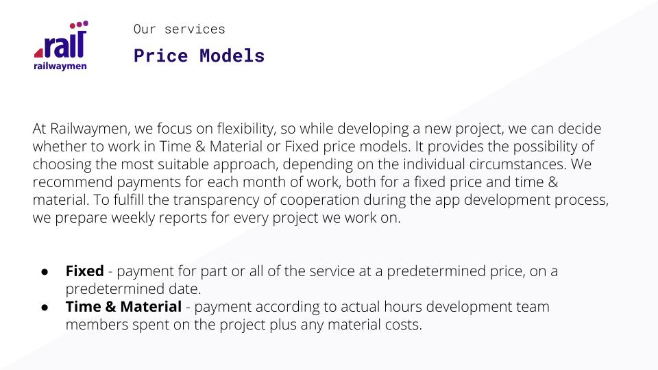 Price Models for mobile and web development