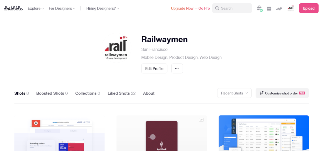 Ruby on Rails examples - Dribbble web application