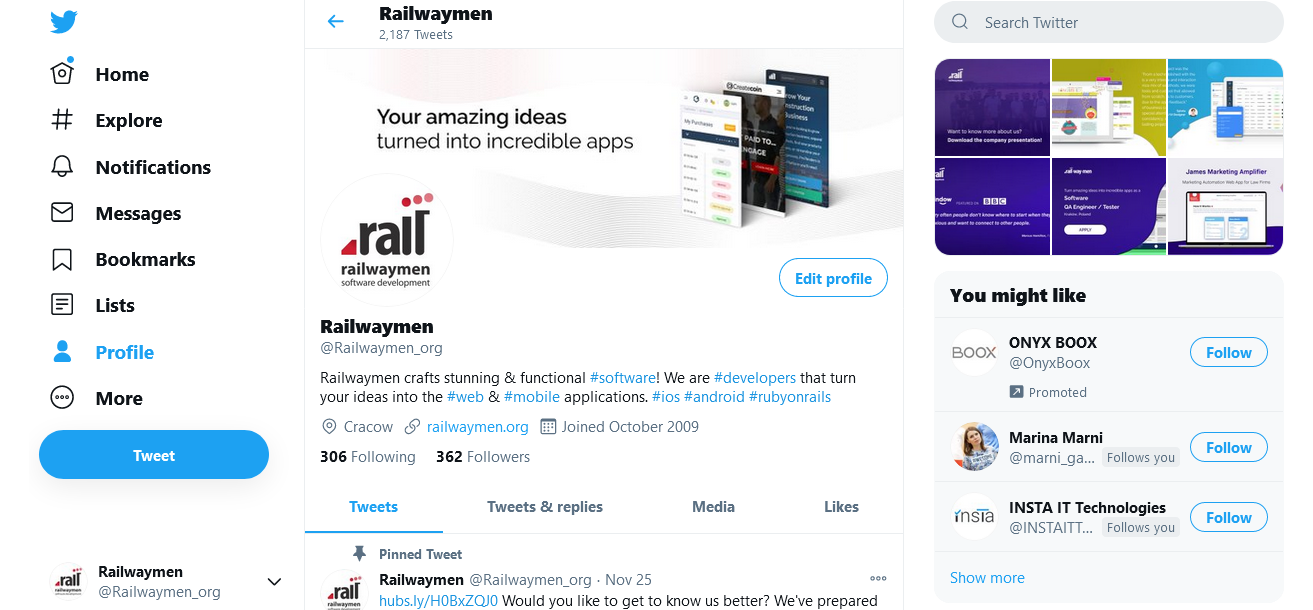 Ruby on Rails examples - Twitter web application
